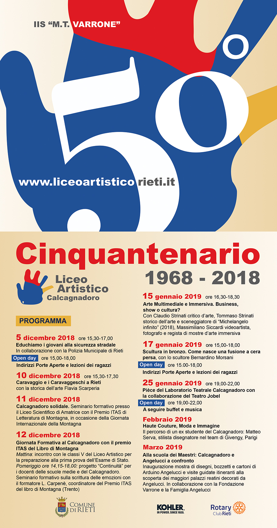Il Liceo Artistico Calcagnadoro festeggia  i suoi 50 anni