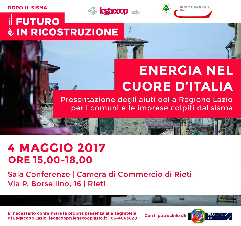 Dopo il sisma parliamo di Energia nel cuore dell'Italia: a Rieti il 4 maggio presso la CCIAA