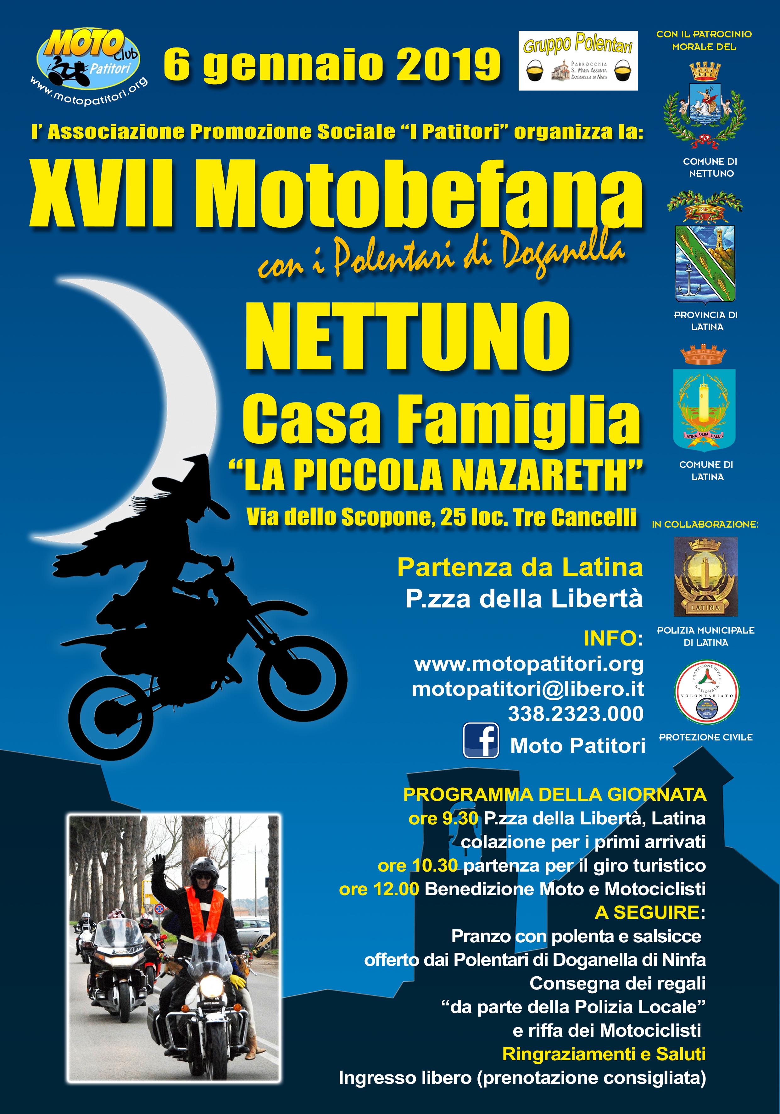 """A Nettuno il Motoclub i Patitori organizza la """"Motobefana della Solidarietà"""""""