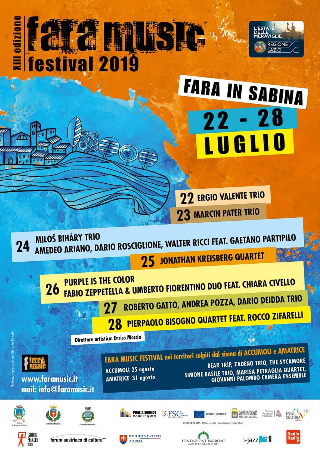 Fara Music Festival 2019 anche ad Accumuli ed Amatrice