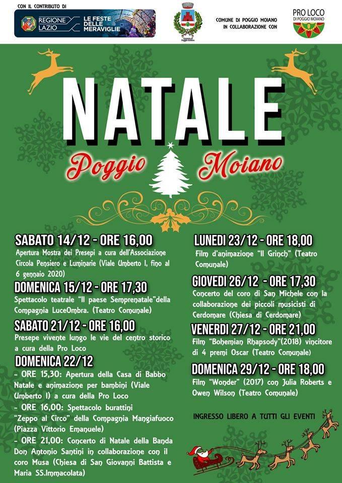 """""""Natale a Poggio Moiano"""": dal 14 al 29 dicembre"""