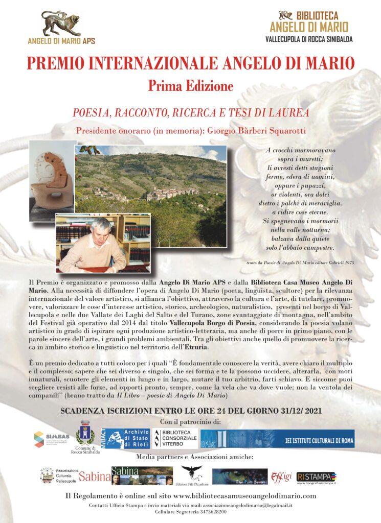 Premio Angelo Di Mario proroga al 31 dicembre 2021 causa Covid 19